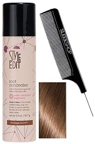 Style Edit ROOT CONCEALER, Instantly Covers Gray, Extended Color Life (w/  Comb) , DARK BROWN, 2.0 oz / 56.7 g.