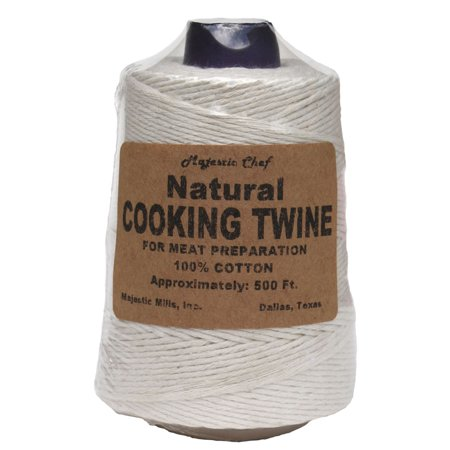 Majestic Chef Natural Cooking Twine 500' Cone 100% - Fine Beading Twine