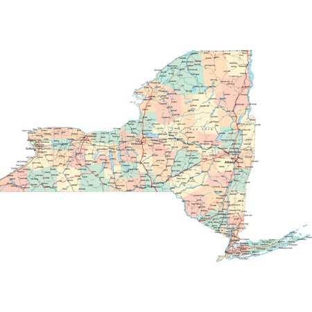 Laminated Poster New York State Road Map City County Albany Ny Poster Print 24 x 36 ()