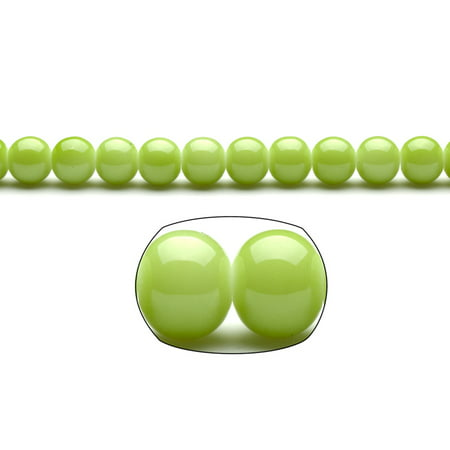Apple Green Pearls 10mm Solid-tone Glass Beads (2 packs of 32inch-string)