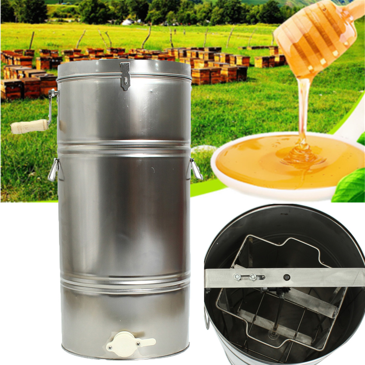 2 Frame Stainless Steel Bee Honey Extractor SS Honeycomb Drum Beekeeping 0.9mm