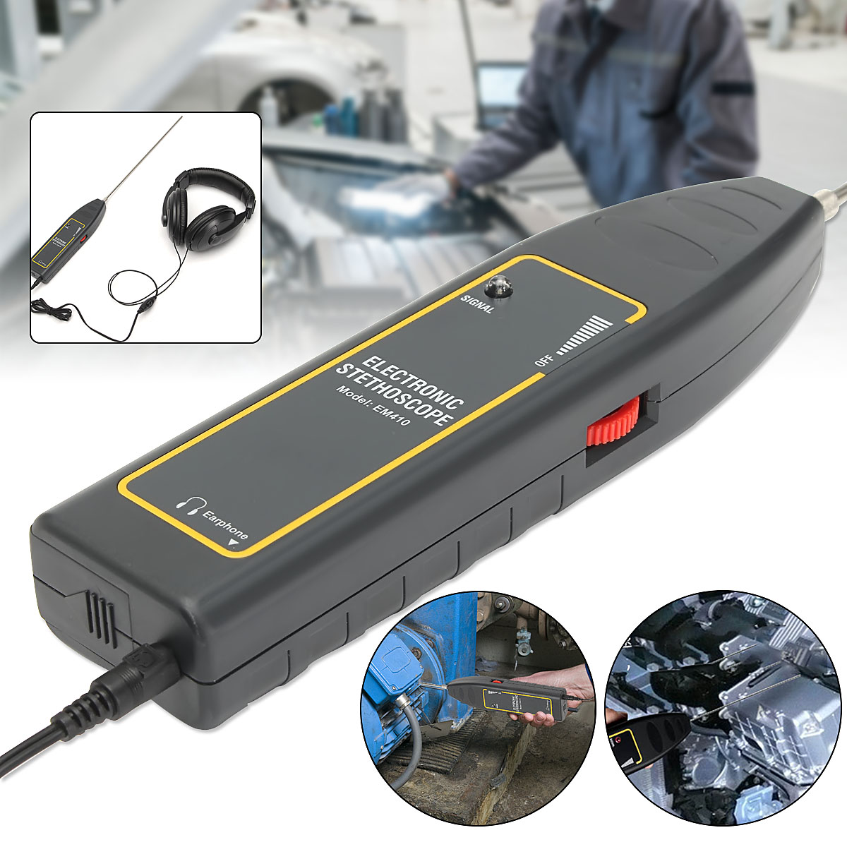 Leak Detector Water Pipe Electronic Stethoscope Earphone Detection Equipment Car Repair  For Trailer Bus