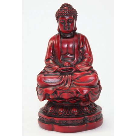 Red Feng Shui Meditating Buddha Figurine Luck Prosperity Paperweight Statue -D