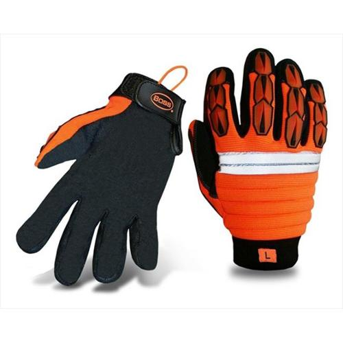 Boss 1JM400X Extra Large Mechanics Style Miner Gloves in High Visibility - Pack of 6
