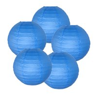 """Just Artifacts 12"""" Blue Paper Lanterns (Set of 5) - Decorative Round Paper Lanterns for Birthday Parties, Weddings, Baby Showers, and Life Celebrations"""