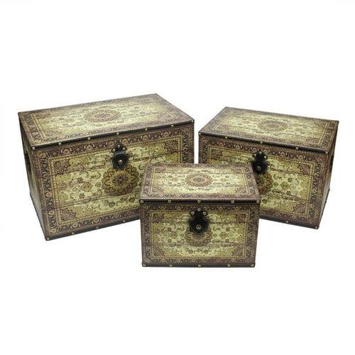 Northlight Seasonal 3 Piece Oriental Wooden Storage Box Set