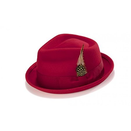 Bogart Stingy Brim Fine Wool Felt Hat With Feather By Montique H-54 (Small, Red)