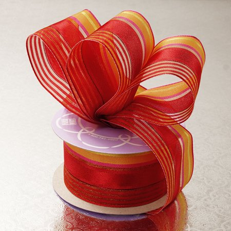 Red Orange Satin Sheer 1-1/2 inches x 10 yards Multi Colored Striped Wired Decorative Ribbon ()