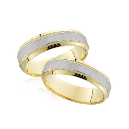 Platinum & 18k Yellow Gold His Hers Matching Hammered Wedding Band Mens Womens