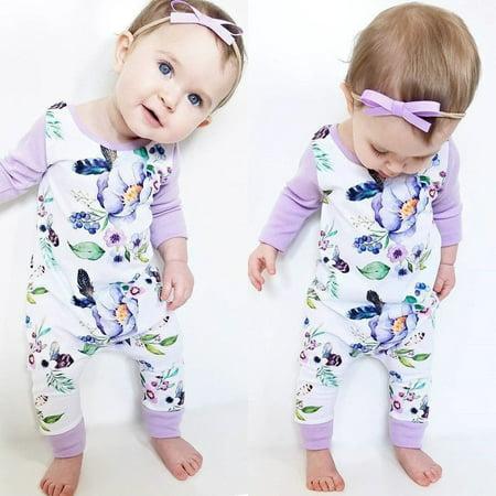 3ace4a602 Newborn Infant Baby Girls Kids Cotton Romper Jumpsuit Bodysuit ...