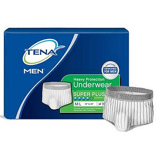 TENA Men Heavy Super Plus Protective Underwear, Medium/Large, 16ct