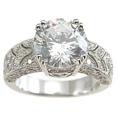 Plutus Partners Plutus Sterling Silver 1/2 carat Cubic Zirconia Princess TGW 3 carats Art Deco Vintage Engagement Ring