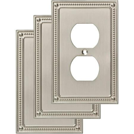 Franklin Brass Classic Beaded Single Duplex Wall Plate in Satin Nickel,