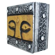 Stoneage Arts Handmade Silvertone/ Goldtone Buddha Eyes 6-inch Wooden Box (Indonesia)