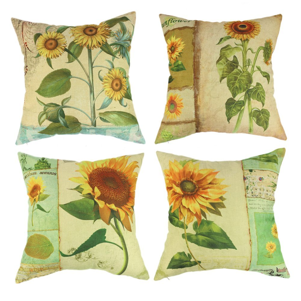Wendana Sunflower Throw Pillow Covers 18 x 18 Set of 4 Farmhouse Pillows Accent Pillows... by CocTree LLC