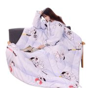 Tuscom 47x63 Inch Creative Thickened Lazy Quilt Washable Detachable Zipper Winter Blanket With Sleeves