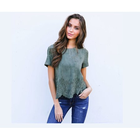 Summer Ladies Floral Loose T Shirt Fashion Women Short Sleeve Blouse Casual Tee Tops - image 4 of 5