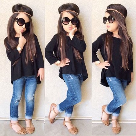Kids Baby Girl Children Black Top T Shirt + Jeans Demin Pants Outfit Set Clothes 1-6Y