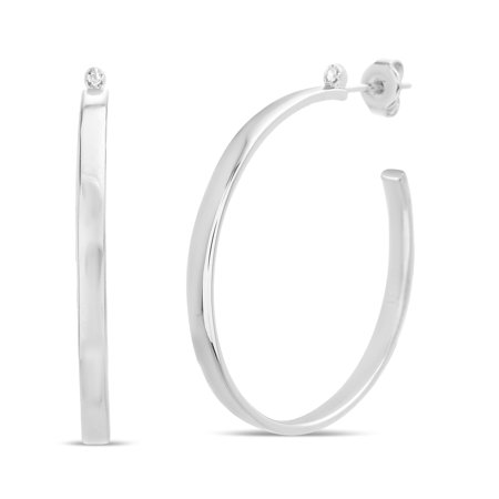 Lumineux Diamond Accent Open Circle Post Earring in Rhodium Plated -