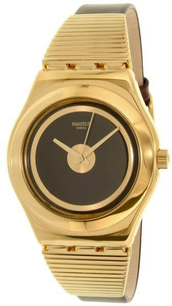 Swatch HIGH NECK Gold-Tone Leather ladies Watch YLG130 by Swatch