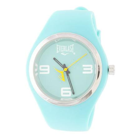 Slim Blue Round Sport Analog Rubber Watch W/ Silver Ring