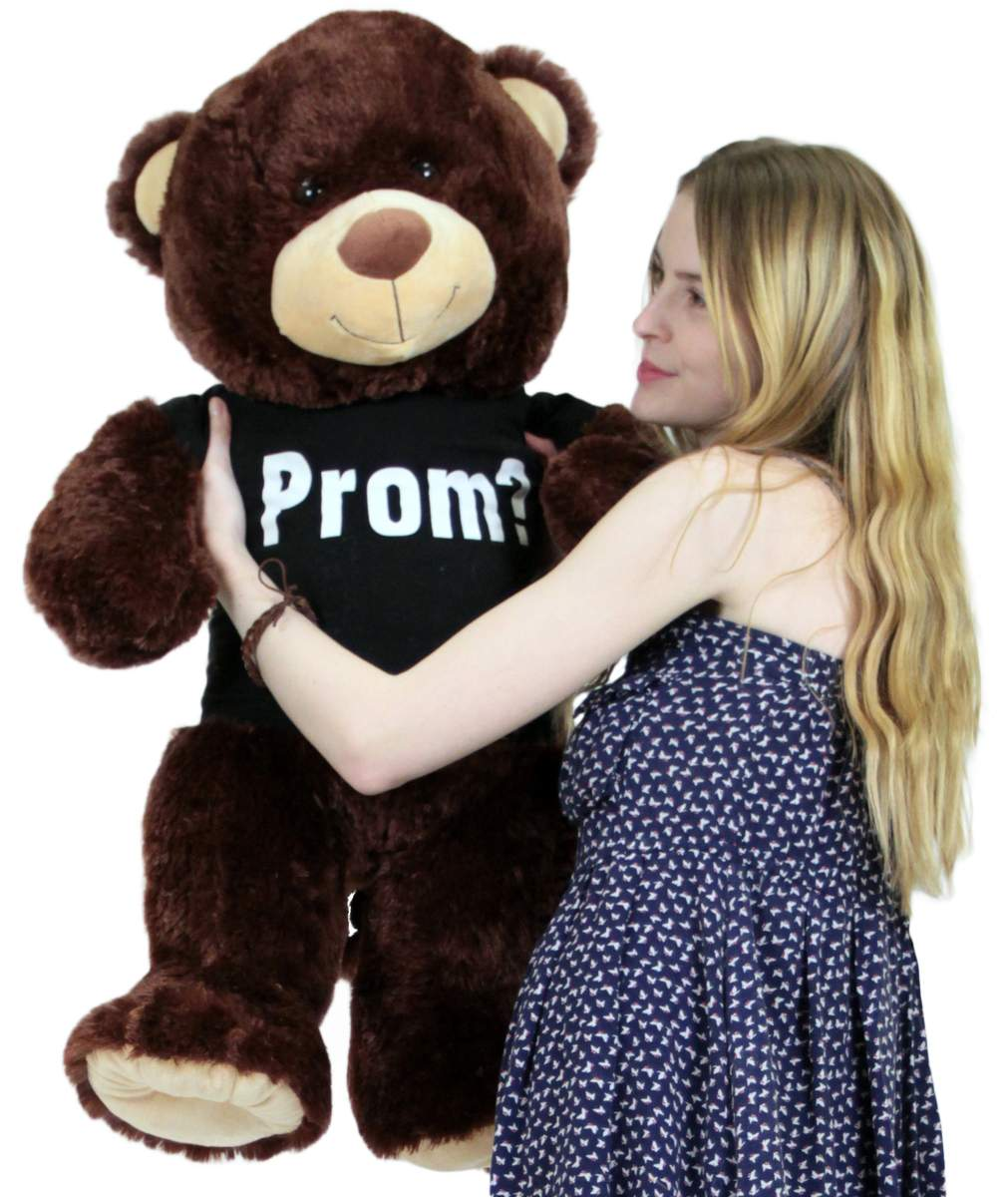 Prom Giant Teddy Bear 36 Inch Soft Wears Tshirt Will You Go To Prom With Me by BigPlush