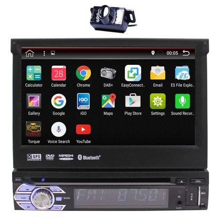 Upgrade Android 6.0 Quad Core Car Stereo 1 Din 7 Inch HD Capacitive Touchscreen Car DVD Player with GPS Navigation Headunit Bluetooth Autoradio System Support 1080P Video WiFi Mirroring + Reversing