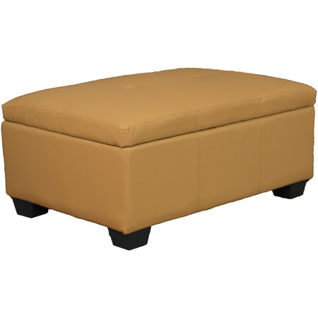 Brilliant Timeless 36 By 24 By 18 Inch Storage Ottoman Bench Leather Look Buckskin Pdpeps Interior Chair Design Pdpepsorg