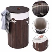Cottcuboaba Folding Bamboo Laundry Basket Clothes Hamper Storage with Lid and Removable Lining Round Laundry Hamper