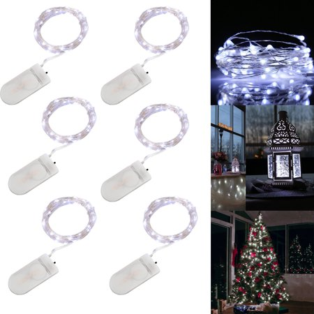 EEEKit LED Copper Lights, 6-Pack 20 LEDs Battery Operated Fairy String Lights, Waterproof Starry Rope Copper Wire Party Lamps (Battery Operated Led String Lights)