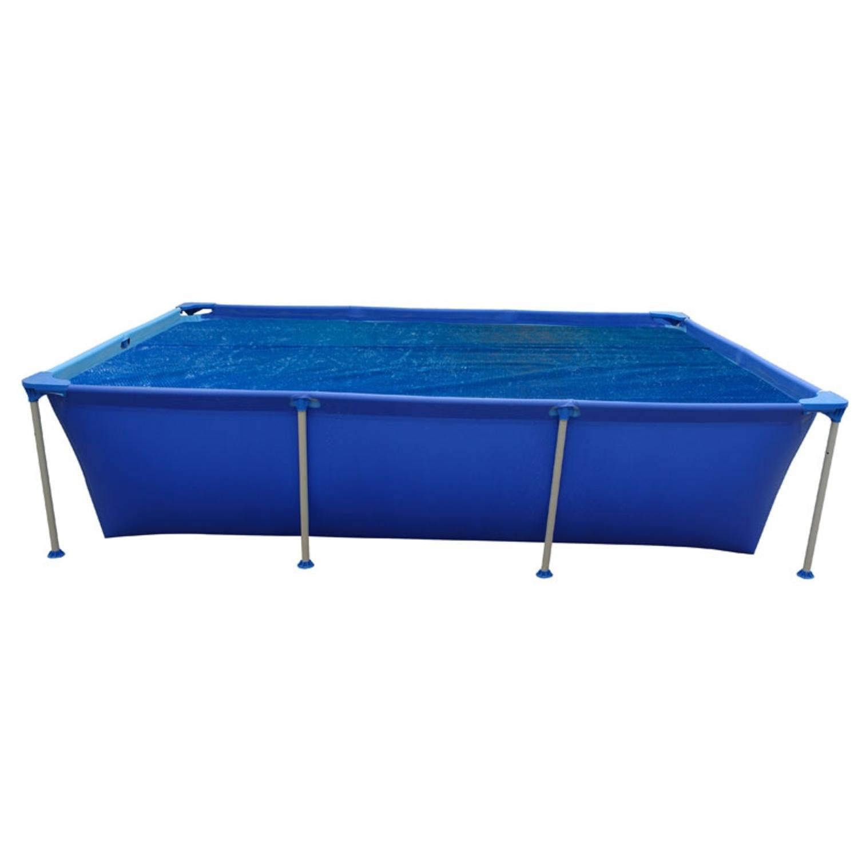 12.8 ft Blue Rectangular Steel Frame Floating Swimming Pool Solar Cover - image 1 de 1