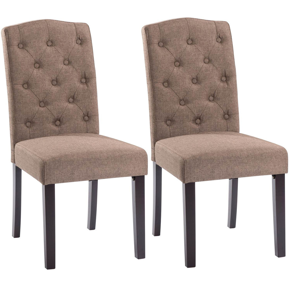 Costway Set of 2 Linen Fabric Wood Accent Dining Chair Tufted Modern Living Room Brown by Costway