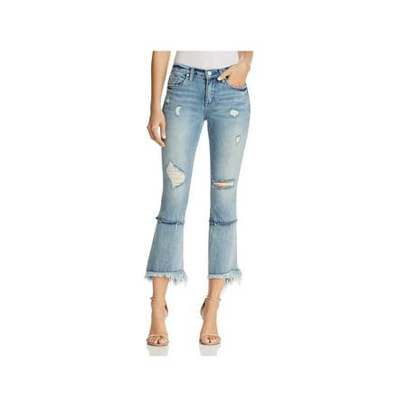 Blank NYC Womens Denim Distressed Cropped Jeans (Blank Nyc Crop Girlfriend Medium Wash Distressed Jeans)