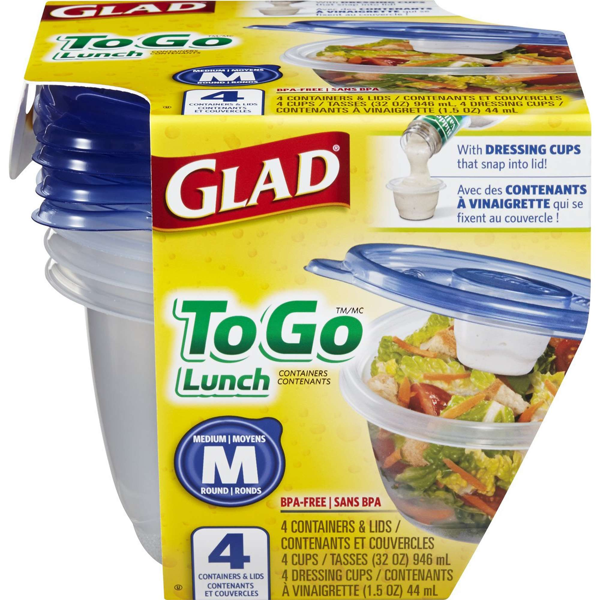 Glad Food Storage Containers, To Go Lunch, 32 oz, 4 ct