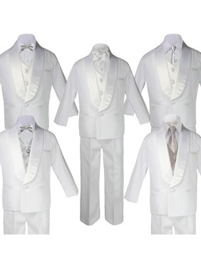 Boy White Shawl Lapel Wedding Suits Tuxedo SILVER Satin Bow Necktie Vest SM-20