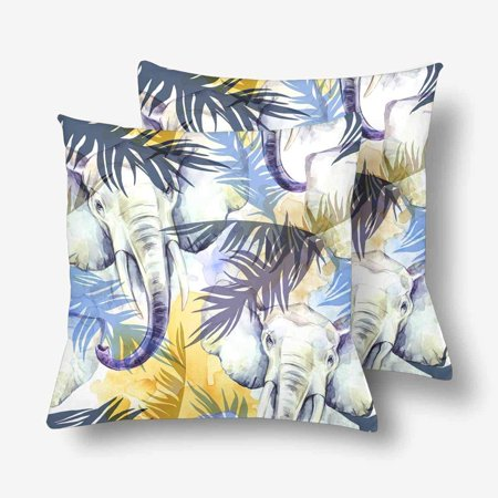 GCKG Watercolor Exotic Elephant Tropical Leaves African Animal Throw Pillow Covers 18x18 inches Set of 2 - image 3 de 3