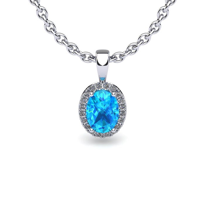 1 2 Carat Oval Shape Aquamarine and Halo Diamond Necklace In 14 Karat White Gold With 18 Inch Chain by SuperJeweler