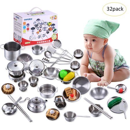 32PCS Kids Anti-fall Stainless Steel Cookware Kitchen Cooking Set Pots &  Pans Toy Mini Model Kitchenware Boys Girls Play House Kitchen Toy Sets
