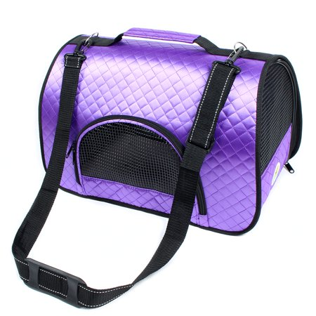 - Travel Foldable Nylon Mesh Zipper Closure Pet Dog Cat Carrier Tote Bag Purple