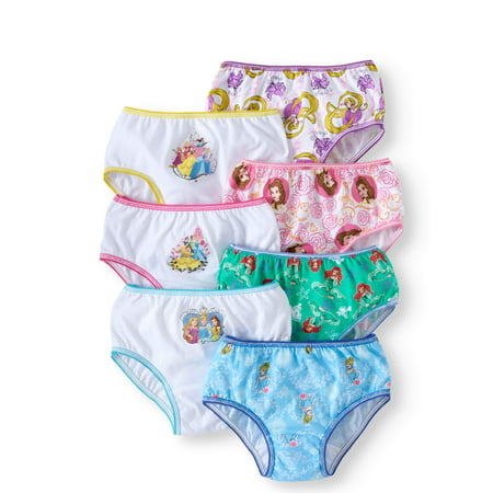 Disney Princesses Girls' Underwear, 7 Pack Princess Panties Sizes 4 - 8