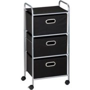 Honey-Can- Do Rolling Storage Cart with 3 Fabric Drawers, Black