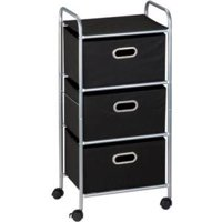 Honey Can Do Rolling Storage Cart with 3 Fabric Drawers, Black