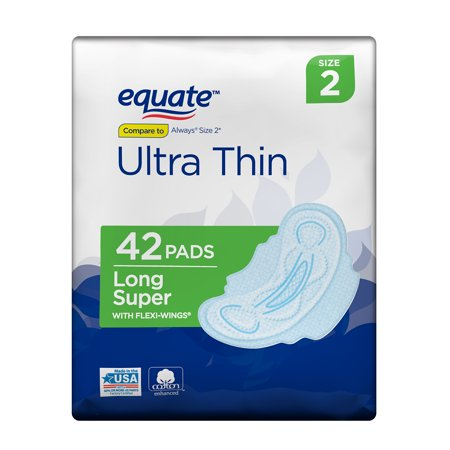 Equate Ultra Thin Pads with Flexi-Wings, Long Super, Size 2, 42 Count (Ultra Super Plus Pads)