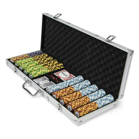 Poker Chip Case, Brybelly Monte Carlo 500pc Texas Holdem Travel Poker Chips Case
