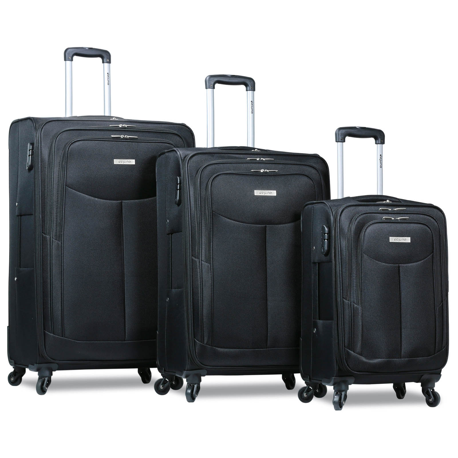 Dejuno The Legacy 3-Piece Softside Lightweight Spinner Upright Luggage Set