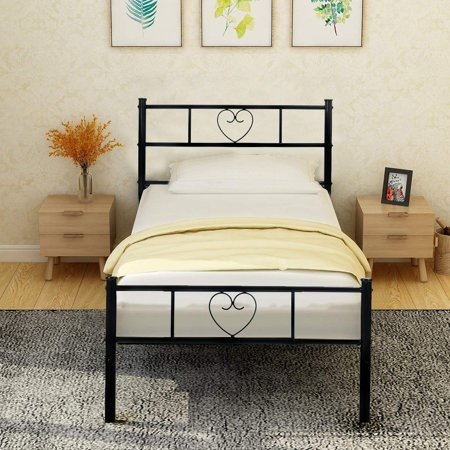 HOMY CASA Twin Bed Frame Solid 3ft Metal Beds with Stable Metal Slats Heart Shaped and Large Storage Space Suit for Children Adults, Black (Store Adult)