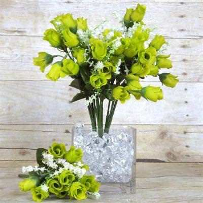 180 Artificial Silk Mini Rose Buds Wedding Bouquet Vase Center - Lime - Mini Bud Vases