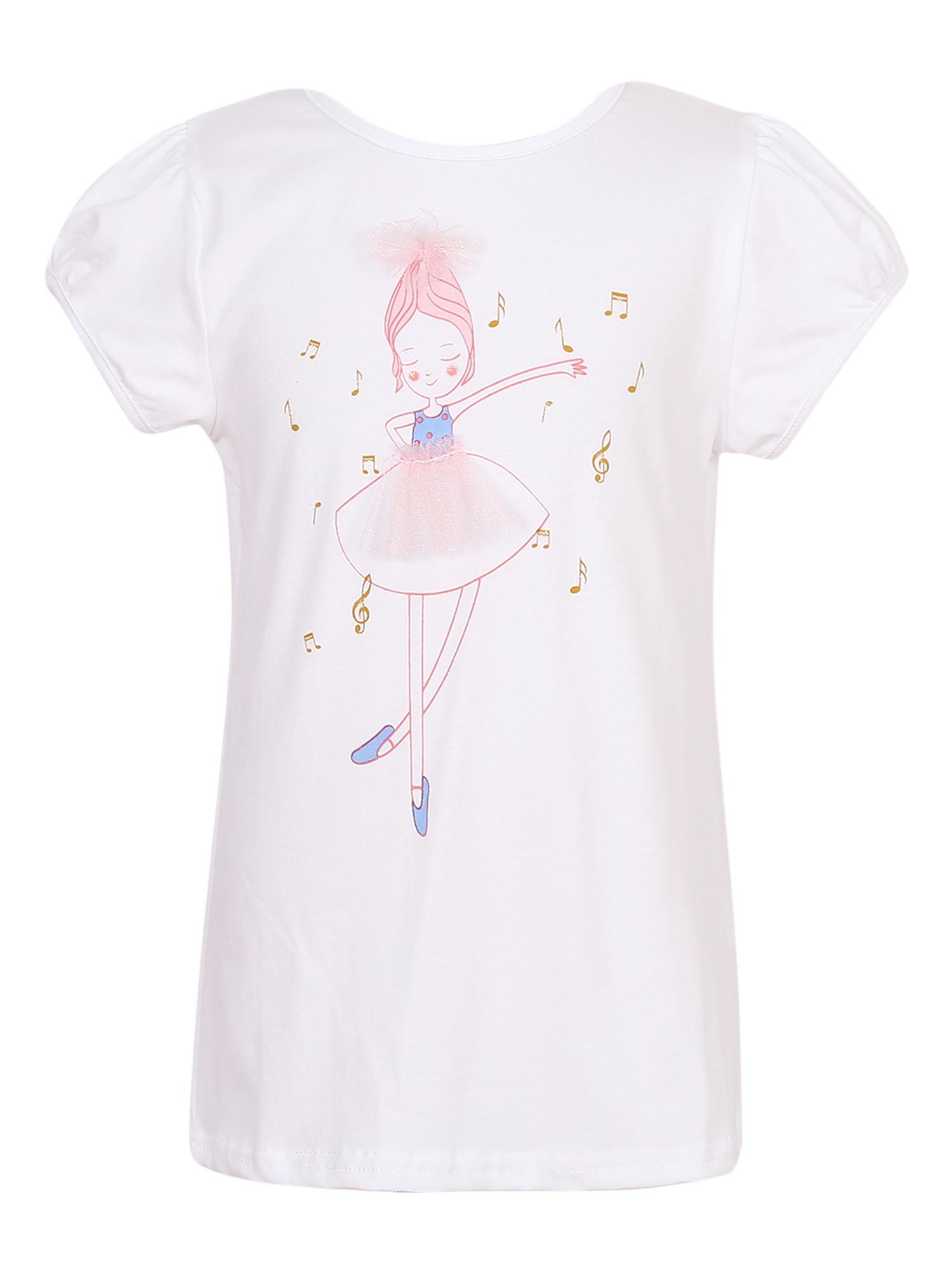 Richie House Girls' Cotton Knit T-Shirt with Dancing Girls RH2419