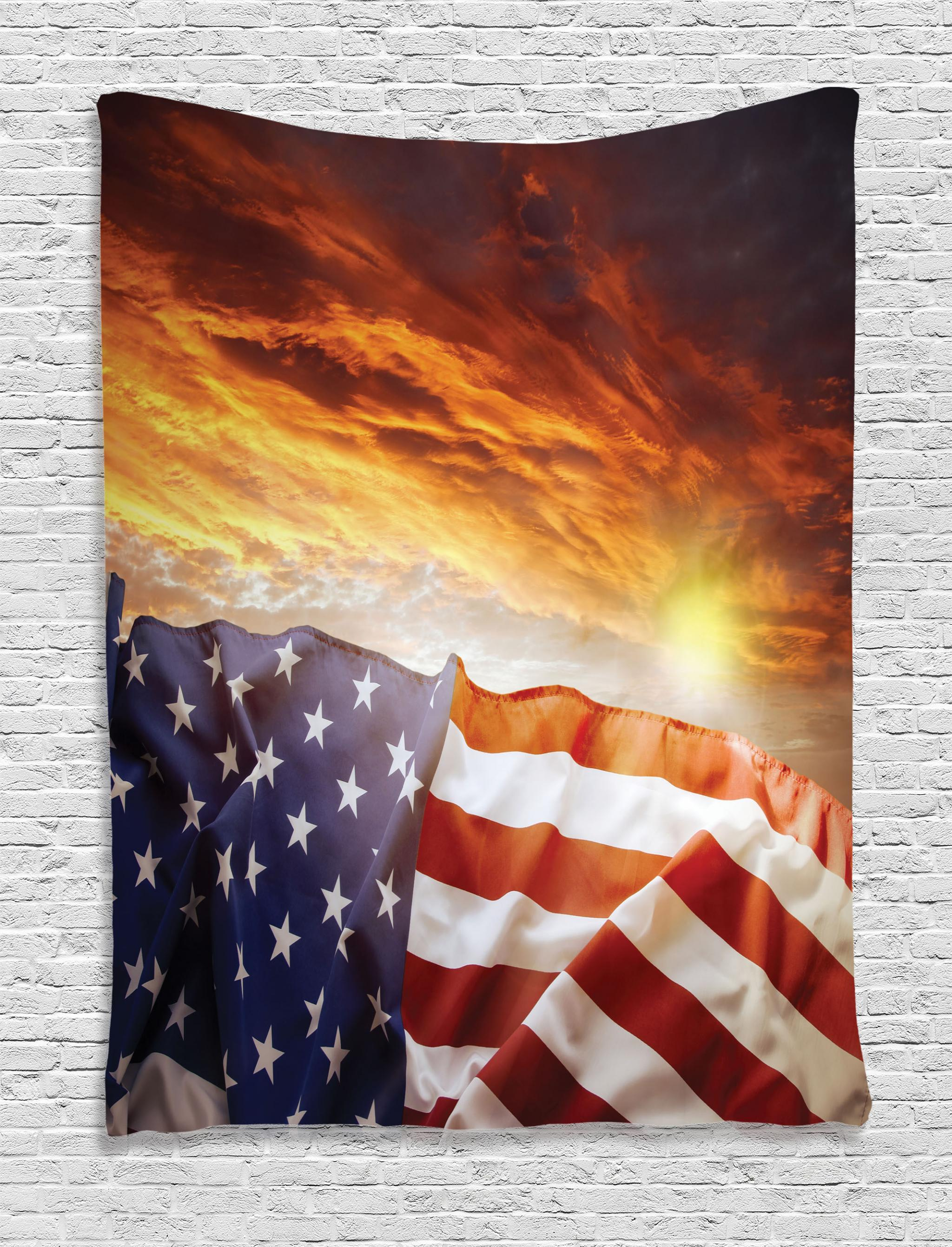 American Flag Tapestry, Flag In Front Of Sunset Sky With Horizon America  Union Idyllic Photograph, Wall Hanging For Bedroom Living Room Dorm Decor,  ...
