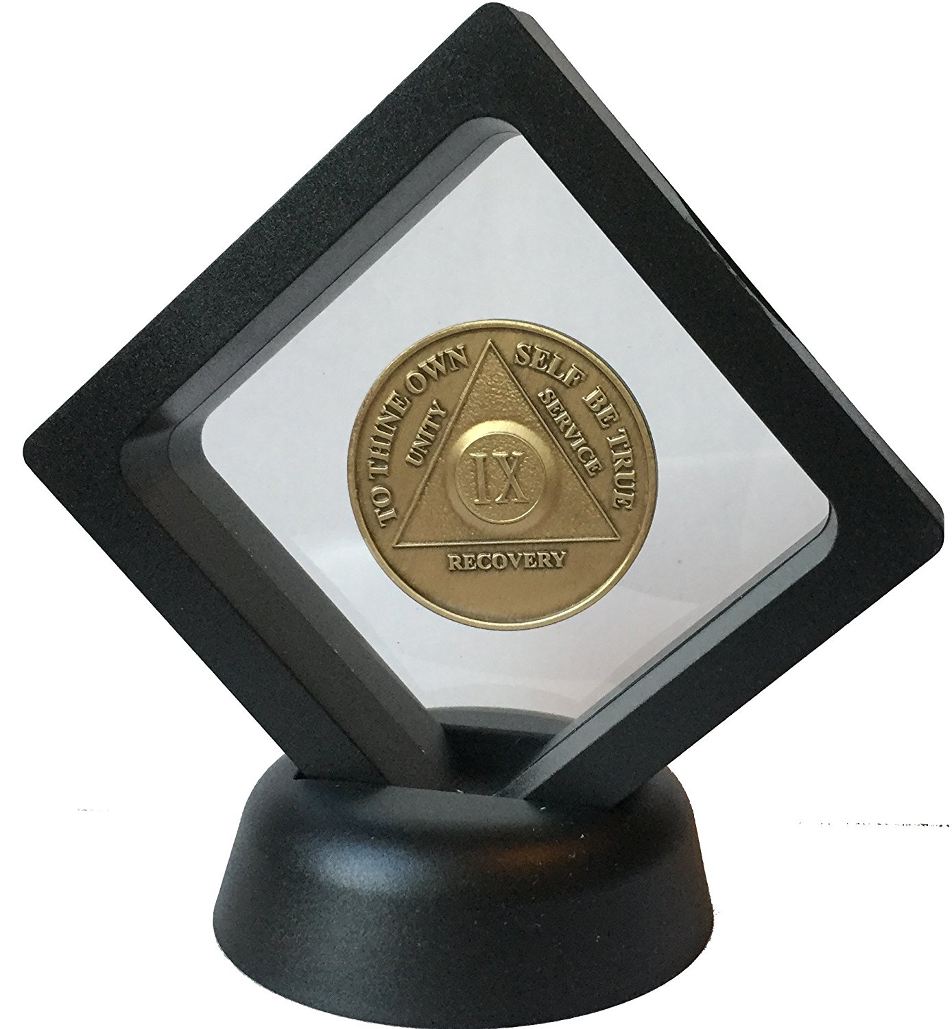 Black Diamond Square Medallion Challenge Coin Display Stand Holder Magic Suspension Box by